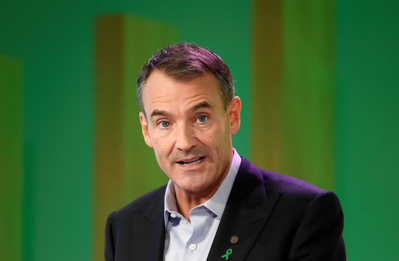 BP's new Chief Executive Bernard Looney gives a speech in central London