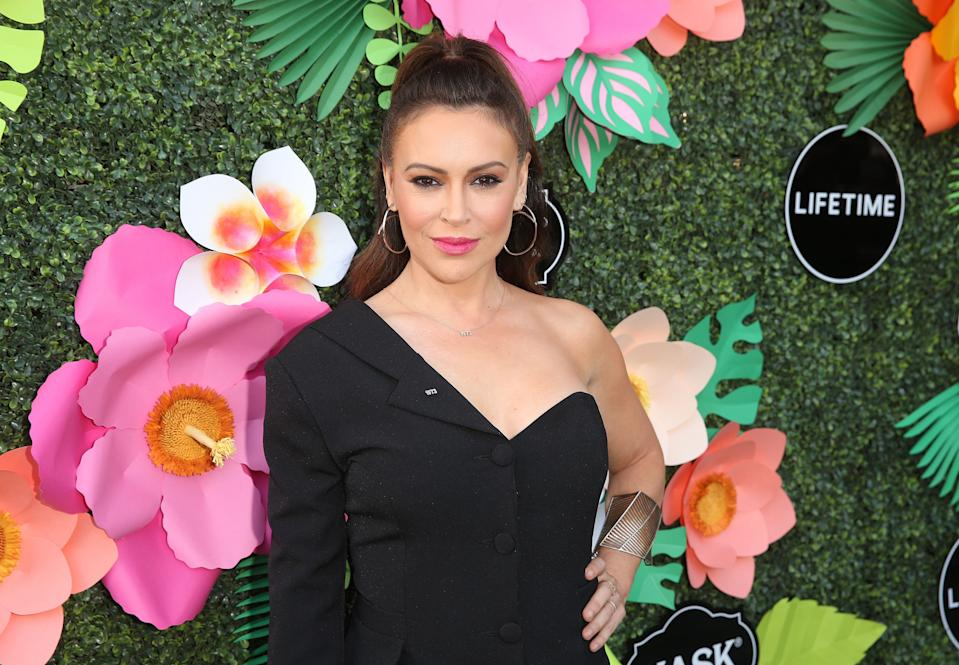 Alyssa Milano attends the Lifetime Summer Luau on May 20, 2019 in Los Angeles, Calif. (Photo by Jesse Grant/Getty Images for Lifetime)
