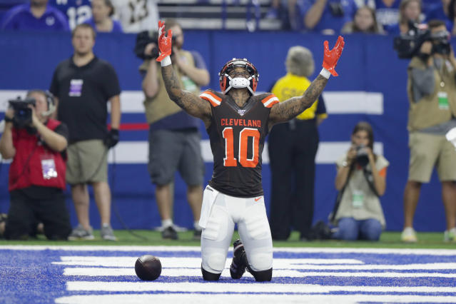 Cleveland Browns wide receiver Jaelen Strong (10) celebrates a touchdown against the Indianapolis Colts during the first half of an NFL preseason football game in Indianapolis, Saturday, Aug. 17, 2019. (AP Photo/Michael Conroy)