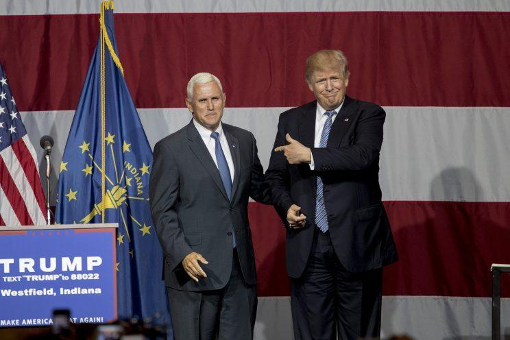 Donald Trump and Indiana Gov. Mike Pence at a campaign rally July 12 in Westfield, Ind. (Photo: Aaron P. Bernstein/Getty Images)