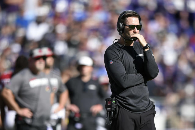 Arizona Cardinals head coach Kliff Kingsbury watches the second half of an NFL football game against the Baltimore Ravens, Sunday, Sept. 15, 2019, in Baltimore. (AP Photo/Gail Burton)