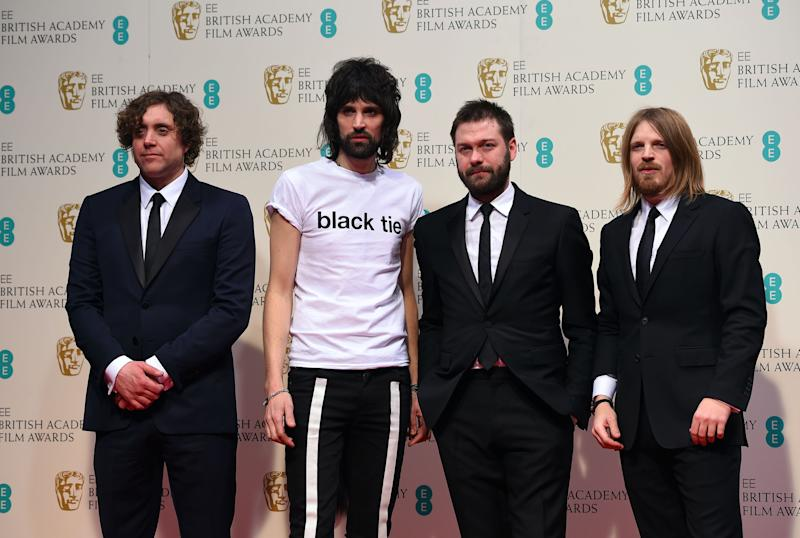 Kasabian pose for photographers in the winners room, at the British Academy Film and Television Awards 2015, The BAFTAs, at the Royal Opera House, in London, Sunday, Feb. 8, 2015. (Photo by Jonathan Short/Invision/AP)
