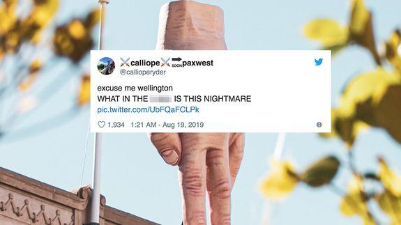 'Disturbing' giant hand statue sparks mixed reactions in Wellington