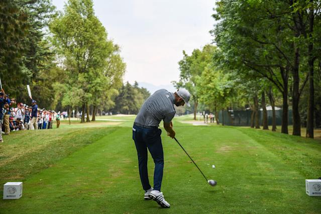 """<div class=""""caption""""> Dustin Johnson hits his drive on the 11th hole at Club de Golf Chapultepec during the final round of the 2020 WGC-Mexico Championship.) </div> <cite class=""""credit"""">Keyur Khamar/PGA Tour</cite>"""