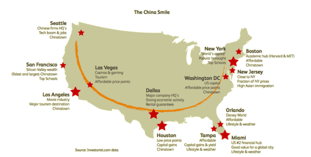 The China Smile, or the US regions that Chinese are heavily invested in.