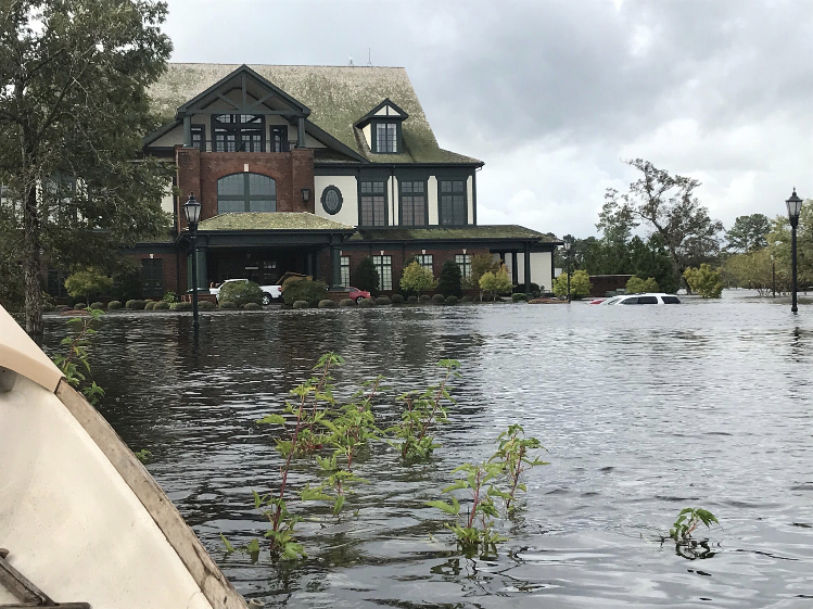 The flooded entry to River Landing Golf Club's clubhouse.