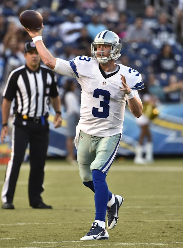 Dallas Cowboys quarterback Brandon Weeden throws against the San Diego Chargers during the first half of a preseason NFL football game Thursday, Aug. 7, 2014, in San Diego. (AP Photo/Denis Poroy)
