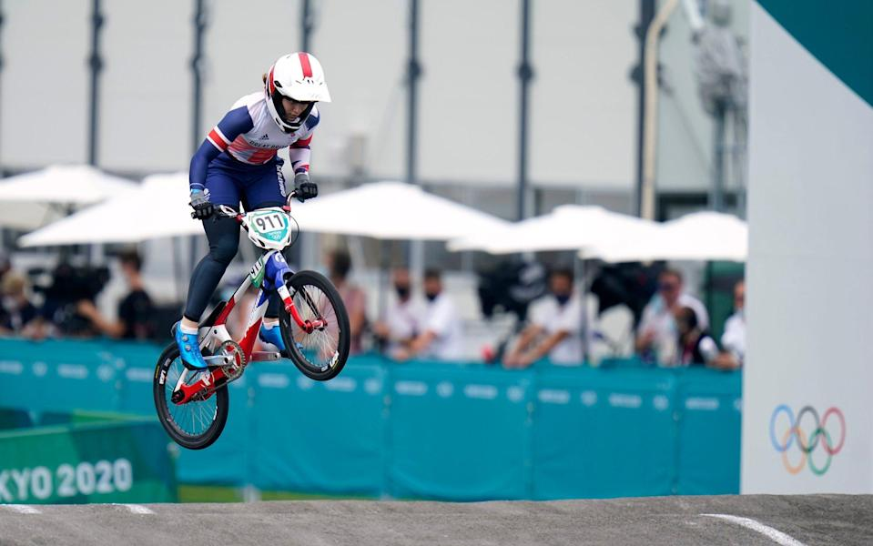 Great Britain's Bethany Shriever competes in the Cycling BMX Racing semi finals at the Ariake Urban Sports Park - PA