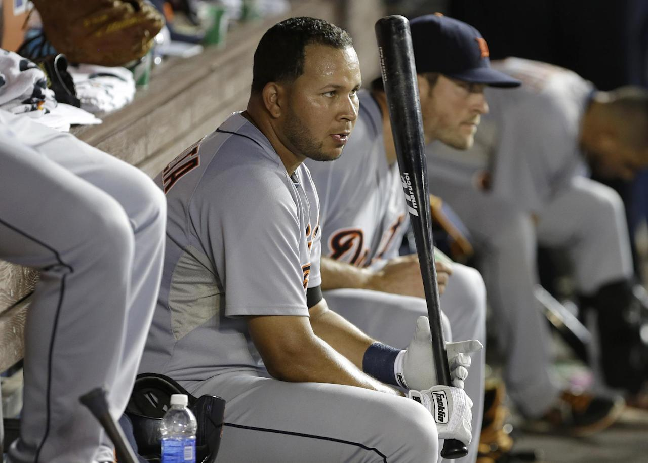 Detroit Tigers' Jhonny Peralta waits to bat in the eighth inning during an interleague baseball game against the Miami Marlins, Friday, Sept. 27, 2013, in Miami. The Marlins defeated the Tigers 3-2. (AP Photo/Lynne Sladky)