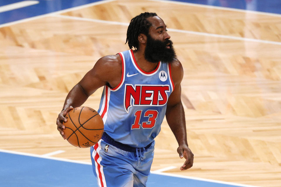 James Harden had a triple-double in his Nets debut. (Photo by Sarah Stier/Getty Images)