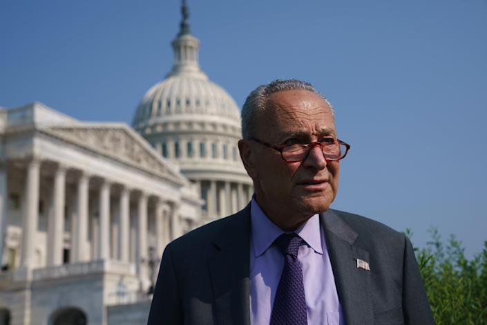 Senate Majority Leader Chuck Schumer in front of the Capitol. (Copyright 2021 The Associated Press. All rights reserved)
