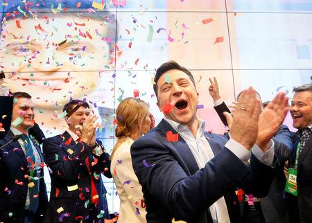 Candidate Zelenskiy reacts following the announcement of an exit poll in a presidential election in Kiev