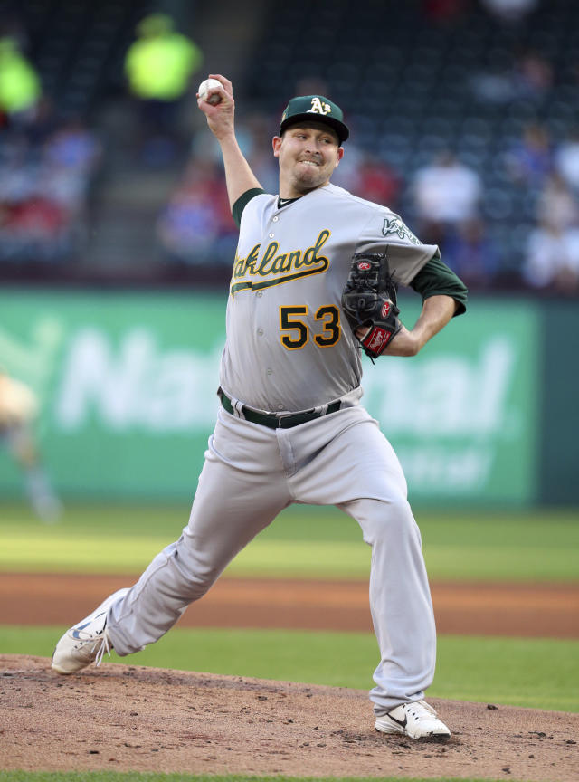 Oakland Athletics starting pitcher Trevor Cahill works the first inning of a baseball game against the Texas Rangers, Monday, April 23, 2018, in Arlington, Texas. (AP Photo/Richard W. Rodriguez)