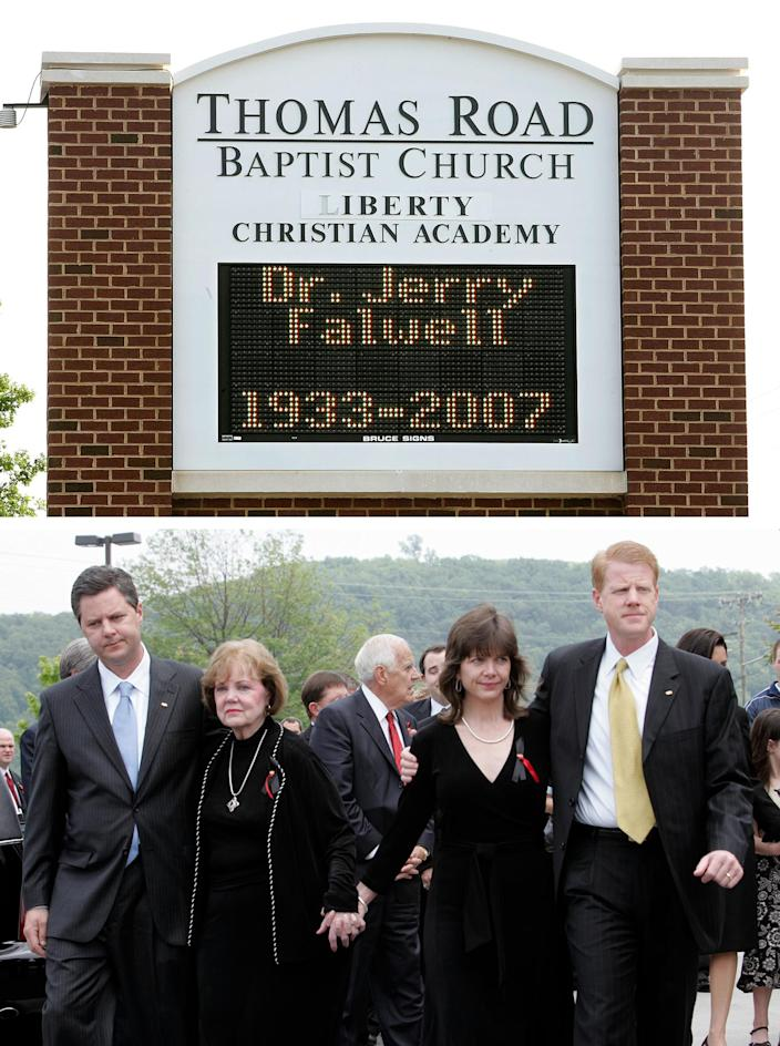 Top: A sign in front of the current Thomas Road Baptist Church displays a memorial message after the death of Rev. Jerry Falwell Sr. in May 2007. Bottom: Members of the Falwell family — (left-right) his son, Jerry Jr.; Rev. Falwell's wife of 49 years, Macel; his daughter, Jeannie Savas; and son, Rev. Jonathan Falwell — leave the Thomas Road Baptist Church after Rev. Falwell's funeral on May 22, 2007.
