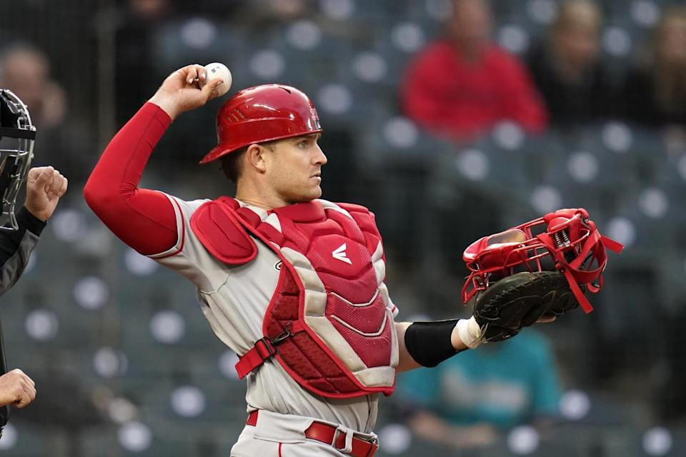Angels catcher Max Stassi in action against the Seattle Mariners.