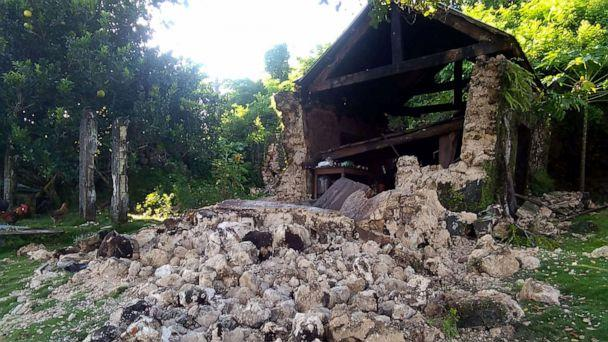 PHOTO: Damage caused to a building after a pair of strong earthquakes, July 27, 2019, in Itbayat on Batanes Island in the Philippines. (Agnes Salengua Nico via AFP/Getty Images)