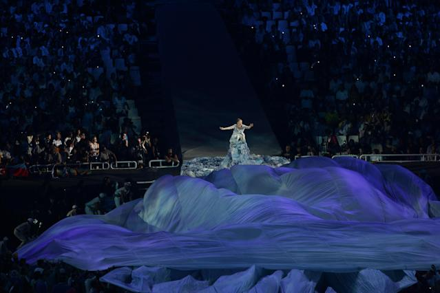 Bjork sings during the opening ceremony of the Athens 2004 Summer Olympic Games. (Getty)