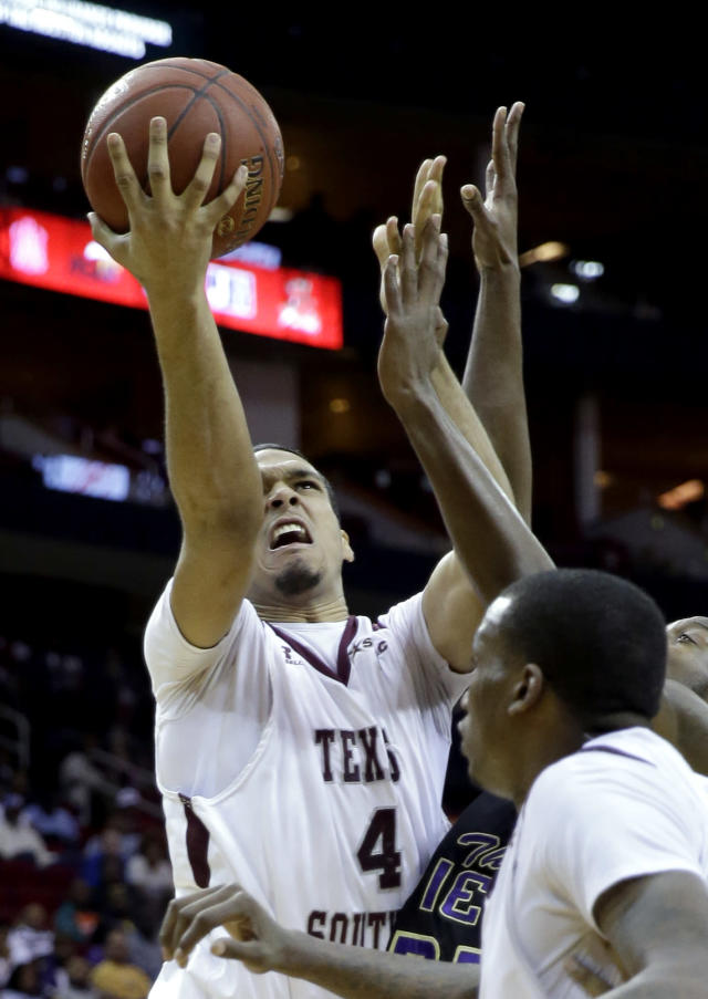 Texas Southern's Jose Rodriguez (4) goes up for a shot against Prairie View A&M during the first half of an NCAA college basketball game in the championship of the Southwestern Athletic Conference tournament Saturday, March 15, 2014, in Houston. (AP Photo/David J. Phillip)