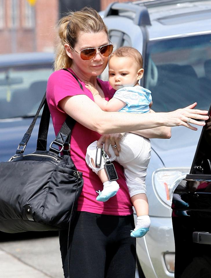 "Ellen Pompeo indulged in a yoga class with her breathtakingly beautiful 9-month-old daughter Stella. Sinister/<a href=""http://www.x17online.com"" target=""new"">X17 Online</a> - June 18, 2010"