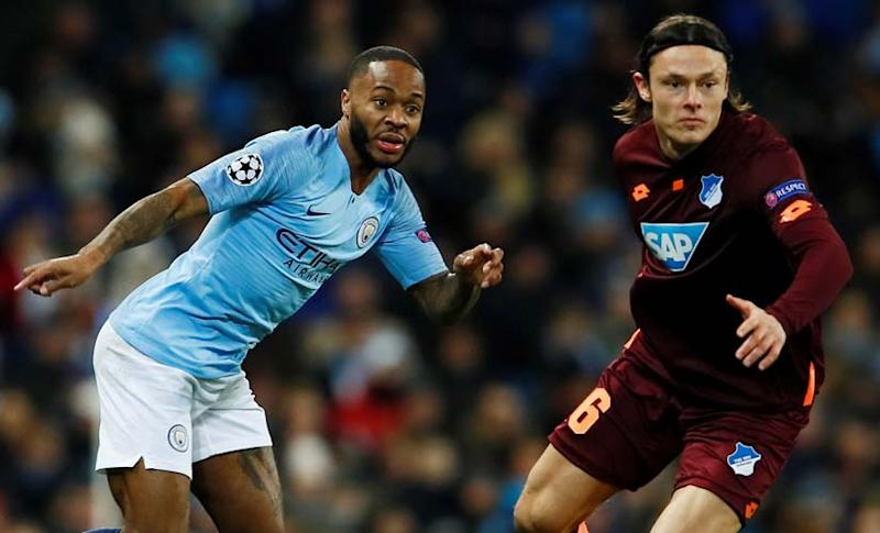 Hoffenheim's Nico Schulz vies for the ball with Manchester City's Raheem Sterling. Reuters