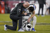 Indianapolis Colts kicker Rodrigo Blankenship (3) kneels on the field after an NFL football game against the Baltimore Ravens, Monday, Oct. 11, 2021, in Baltimore. (AP Photo/Julio Cortez)