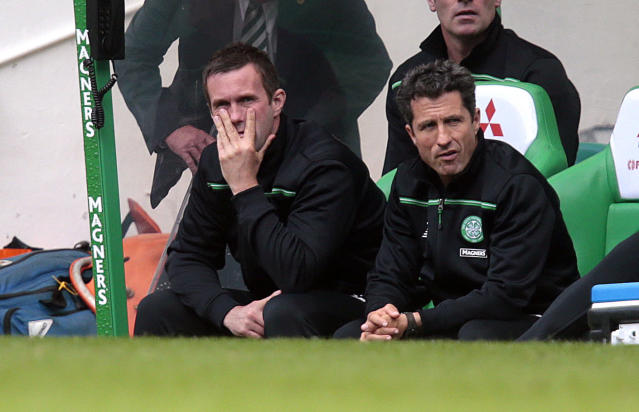 "Football - Celtic v Inverness Caledonian Thistle - Ladbrokes Scottish Premiership - Celtic Park - 15/8/15 Celtic manager Ronny Deila with assistant manager John Collins Action Images via Reuters / Graham Stuart Livepic EDITORIAL USE ONLY. No use with unauthorized audio, video, data, fixture lists, club/league logos or ""live"" services. Online in-match use limited to 45 images, no video emulation. No use in betting, games or single club/league/player publications. Please contact your account representative for further details."