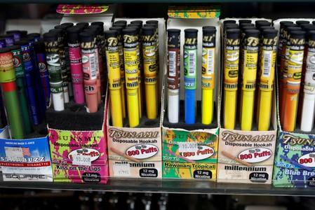FILE PHOTO: Vaping products are displayed for sale in a shop in Manhattan in New York City
