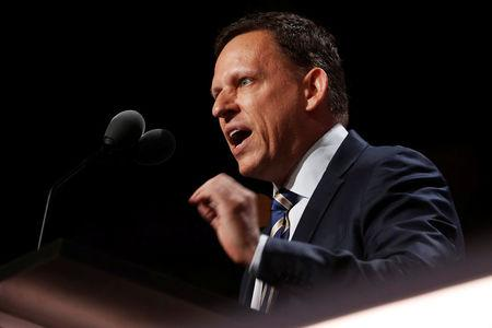 FILE PHOTO: Paypal co-founder Peter Thiel speaks at the Republican National Convention in Cleveland, Ohio, U.S. July 21, 2016. REUTERS/Jonathan Ernst/File Photo