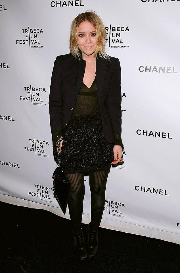 """An awkward looking Mary-Kate Olsen arrives at the 3rd Annual Chanel Dinner Party honoring the Tribeca Film Festival Artist Program at Robert DeNiro's Italian restaurant, Ago, in New York. Jemal Countess/<a href=""""http://www.wireimage.com"""" target=""""new"""">WireImage.com</a> - April 28, 2008"""