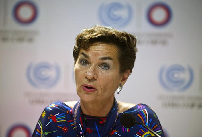 UNFCCC Executive Secretary Christina Figueres speaks during a press conference at the COP20 in Lima on December 1, 2014 (AFP Photo/Ernesto Benavides)
