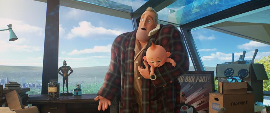 Mr. Incredible has his hands full with a dimension-hopping Jack-Jack. Plus, note the familiar-looking lamp to the left. (Image: Pixar)