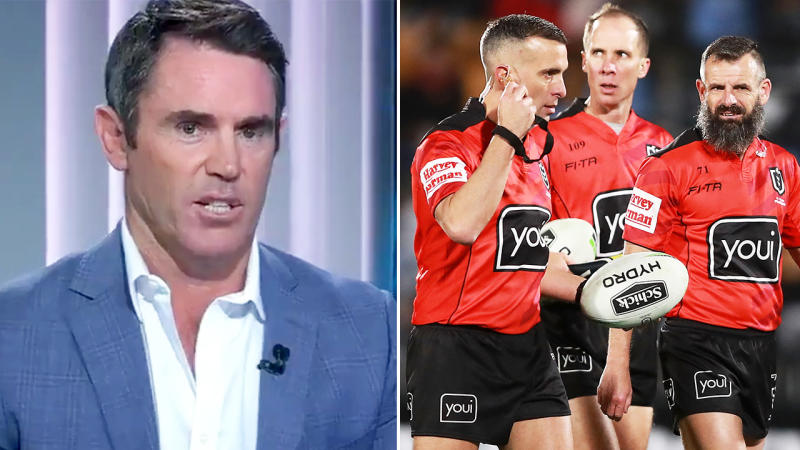 Brad Fittler, pictured here lashing out at the NRL referees.