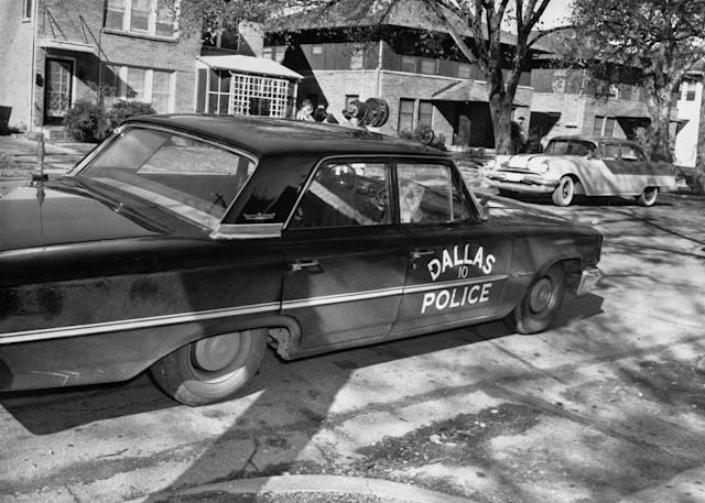 <p>A Dallas Police Department vehicle is parked in the 400 block of 10th Street (10th Street and Patton Avenue) in the Oak Cliff neighborhood of Dallas, in this undated image from 1963. According to federal government investigations, Dallas police officer J. D. Tippit was shot and killed by Lee Harvey Oswald at this spot after Tippit stopped Oswald for questioning shortly after the shooting of President John F. Kennedy. (Photo: Dallas Police Department/Dallas Municipal Archives/University of North Texas/Handout/Reuters) </p>
