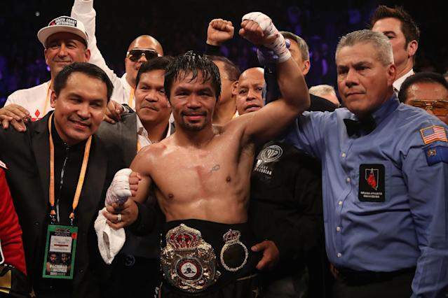 Manny Pacquiao's win over Adrien Broner on Saturday at the MGM Grand Garden in Las Vegas sold 400,000 on pay-per-view, industry sources told Yahoo Sports. (Getty Images)