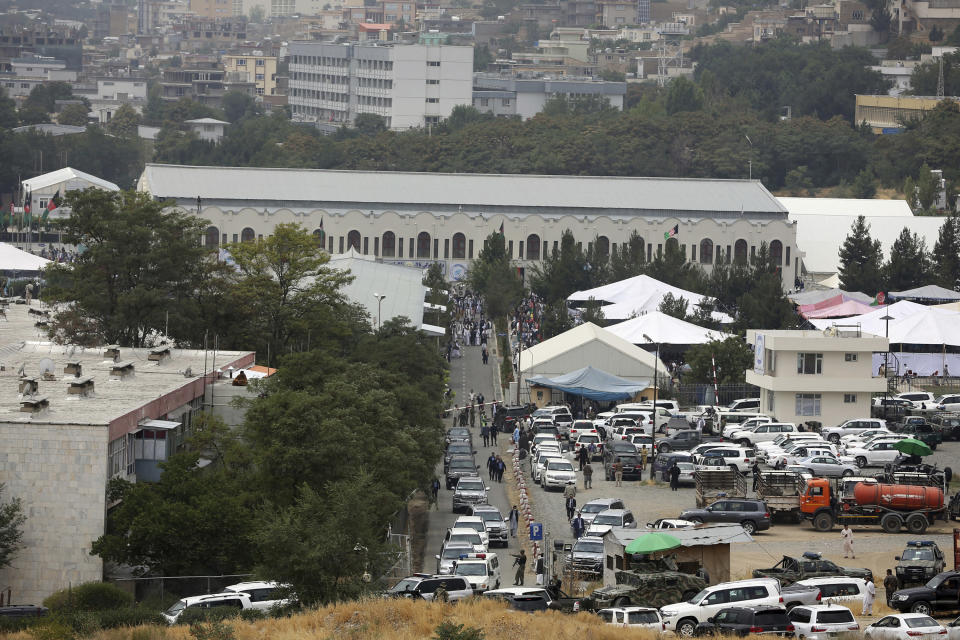 This photo shows the venue where the Loya Jirga will be held, in Kabul, Afghanistan, Sunday, Aug. 9, 2020. A traditional Afghan council concluded Sunday with hundreds of delegates agreeing to free 400 Taliban members, paving the way for an early start to negotiations between Afghanistan's warring sides. (AP Photo/Rahmat Gul)