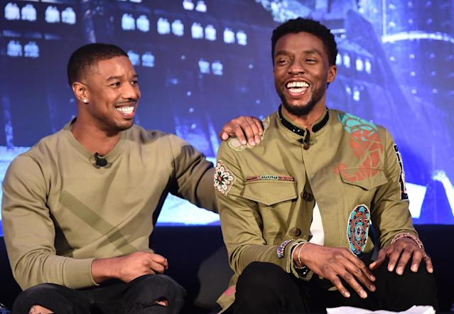 Michael B. Jordan, left, and Chadwick Boseman at a  <i>Black Panther</i> press conference in January. (Photo: Alberto E. Rodriguez/Getty Images for Disney)