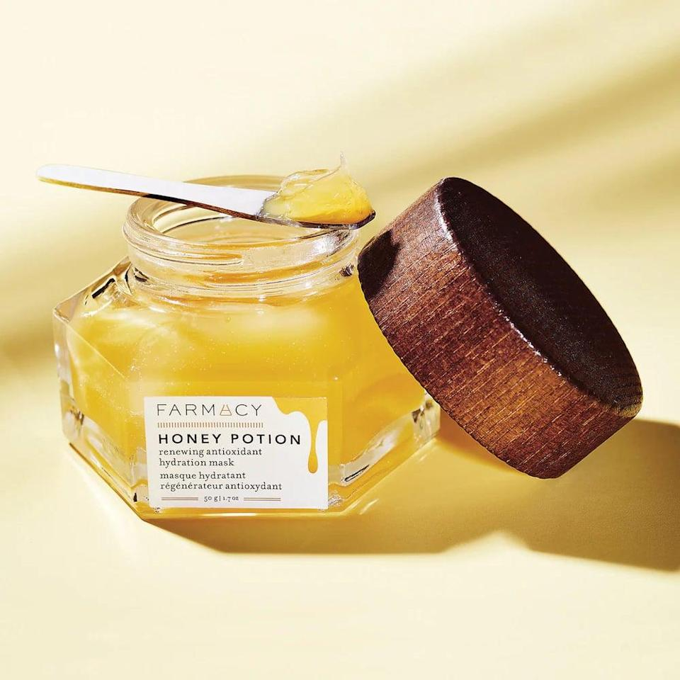 <p>If you've got dry skin, you'll practically drink up this <span>Farmacy Honey Potion Renewing Antioxidant Hydration Mask</span> ($56).</p>