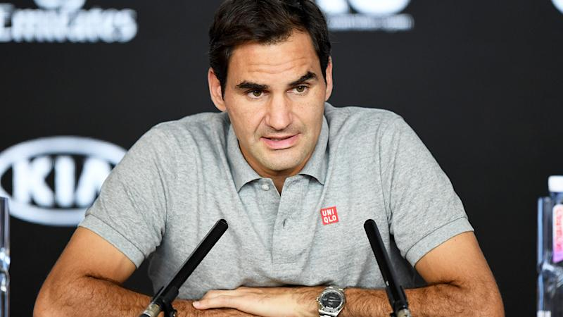 Roger Federer, pictured here speaking to the media at the Australian Open in January.