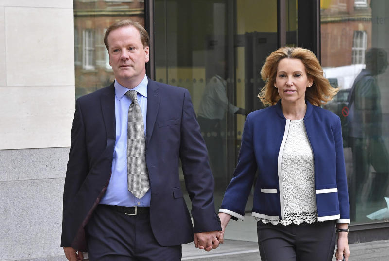 Photo by: zz/KGC-143/STAR MAX/IPx 2019 9/6/19 Member of Parliament Charlie Elphicke representing Dover and Deal - accompanied by his wife Natalie Ross Elphicke - appears at Westminster Magistrates Court. Elphicke was charged in July 2019 with three counts of sexual assault against two women. (London, England, UK)
