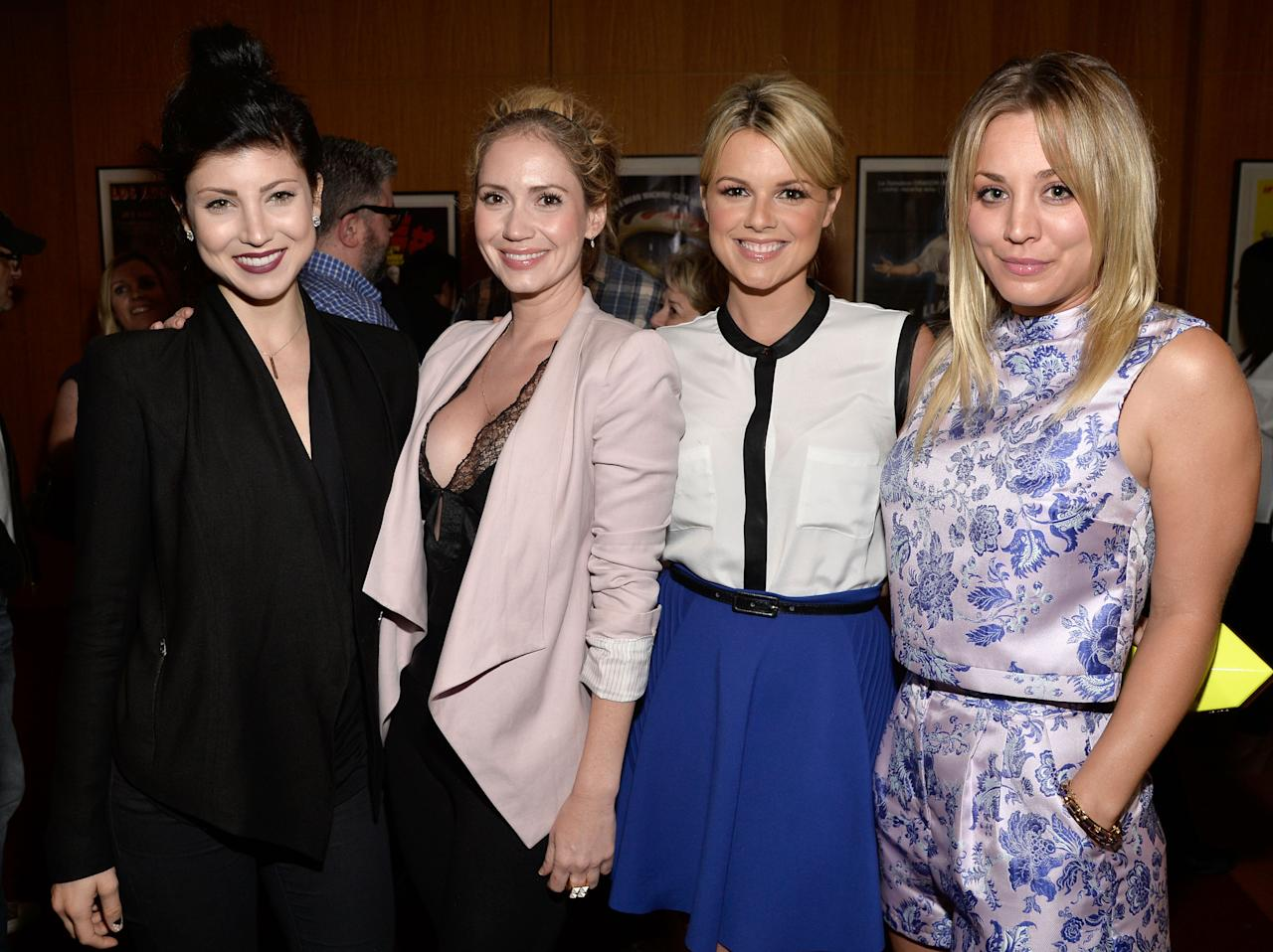 """BEVERLY HILLS, CA - JULY 24:  (L-R) Actresses Briana Cuoco, Ashley Jones, Ali Fedotowsky and Kaley Cuoco attend the after party for the premiere of """"Blue Jasmine"""" hosted by AFI & Sony Picture Classics at AMPAS Samuel Goldwyn Theater on July 24, 2013 in Beverly Hills, California.  (Photo by Frazer Harrison/Getty Images for AFI)"""