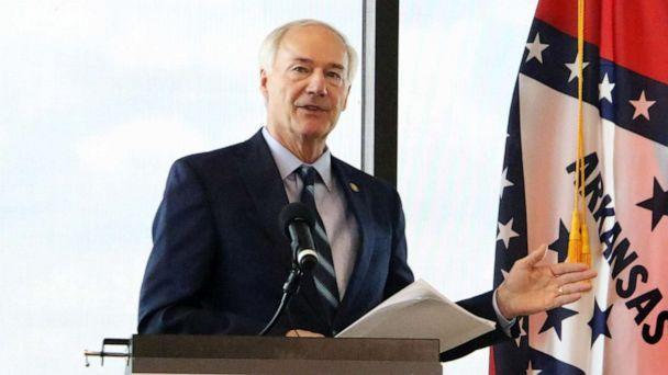 PHOTO: Gov. Asa Hutchinson holds a press conference at the US Marshals Museum in Fort Smith, Ark., June 18, 2020. (Southwest Times Record via USA Today Network, FILE)