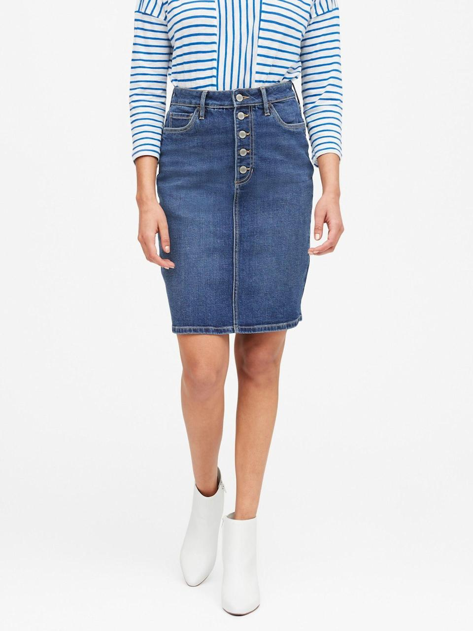 """<p><strong>Banana Republic</strong></p><p>bananarepublic.gap.com</p><p><strong>$79.50</strong></p><p><a href=""""https://go.redirectingat.com?id=74968X1596630&url=https%3A%2F%2Fbananarepublic.gap.com%2Fbrowse%2Fproduct.do%3Fpid%3D547979002%26pcid%3D999%26vid%3D1%26searchText%3Ddenim%2Bskirt%23pdp-page-content&sref=https%3A%2F%2Fwww.marieclaire.com%2Ffashion%2Fstreet-style%2Fg32046163%2Fbest-denim-skirts%2F"""" rel=""""nofollow noopener"""" target=""""_blank"""" data-ylk=""""slk:shop It"""" class=""""link rapid-noclick-resp"""">shop It </a></p><p>I think we've made our point that a denim skirt IS a wardrobe essential. For maximum comfort, look for a style with a bit of stretch and when you try it on, don't forget to try sitting down to make sure it gives the right amount of coverage. </p><p><em>For more stories like this, including celebrity news, beauty and fashion advice, savvy political commentary, and fascinating features, sign up for the </em>Marie Claire<em> newsletter.</em><em><br></em></p><p><a class=""""link rapid-noclick-resp"""" href=""""https://link.marieclaire.com/join/3oa/mar-newsletter?authId=F0CC0C27-80DA-4734-ABDF-E4115B84A56B&maj=WNL&min=ARTICLES"""" rel=""""nofollow noopener"""" target=""""_blank"""" data-ylk=""""slk:subscribe here"""">subscribe here</a></p>"""