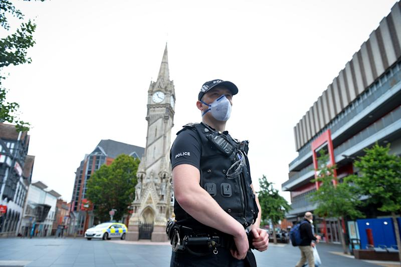 Police in Leicester City Centre on July 4th. Leicester remains in lockdown after a spike in Coronavirus cases whilst restrictions are lifted in other parts of the country.