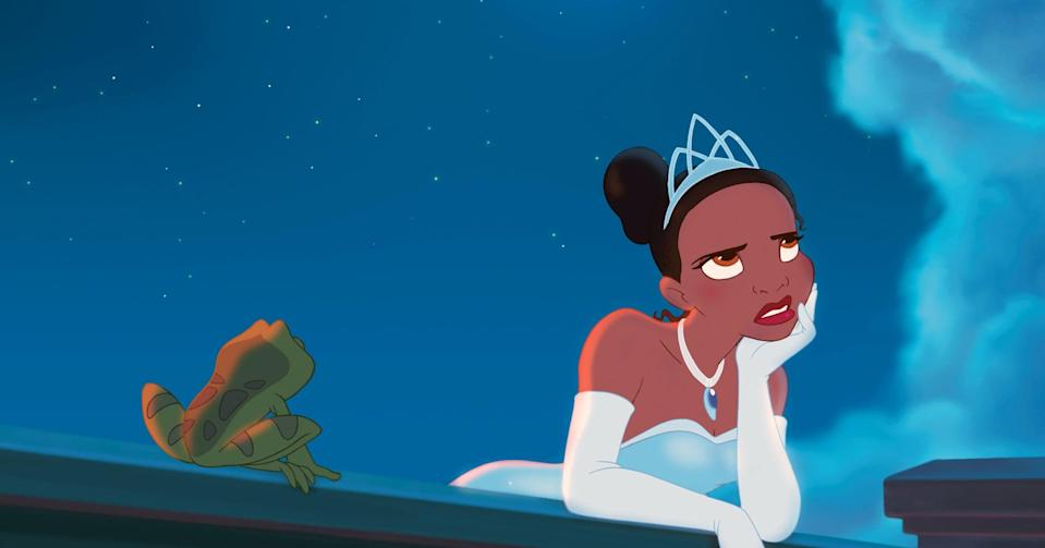 """<p>Tiana, talented cook and workaholic, is trying to make as much money as she can to build her own restaurant as she and her late father had dreamed of doing. Prince Naveen, heir to the French throne and in danger of losing his inheritance, tries his luck with a voodoo man, who turns him into a frog. When he runs into Tiana, he accidentally turns her into a frog with a kiss. The two then travel down the bayou to reverse the curse. </p> <p><a href=""""https://www.disneyplus.com/movies/the-princess-and-the-frog/7TPAcC8QPGpm"""" class=""""link rapid-noclick-resp"""" rel=""""nofollow noopener"""" target=""""_blank"""" data-ylk=""""slk:Watch The Princess and the Frog on Disney+ now."""">Watch <strong>The Princess and the Frog</strong> on Disney+ now.</a></p>"""
