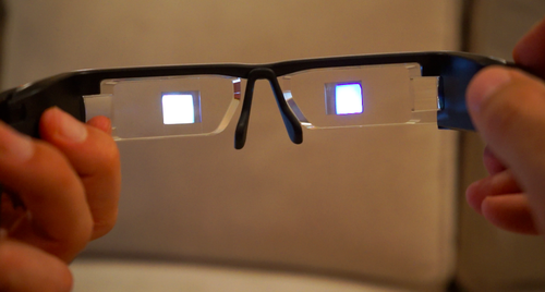 Epson Moverio BT200 glasses showing screens in lenses