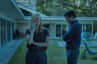 """<p><em>Nominated for: Best Television Series–Drama; Best Performance by an Actress in a Television Series–Drama (Laura Linney); Best Performance by an Actress in a Supporting Role in a Series, Limited Series or Motion Picture Made for Television (Julia Garner); Best Performance by an Actor in a Television Series–Drama (Jason Bateman)</em></p> <p>This sleeper hit follows a mild-mannered financial planner whose double life laundering money for a drug cartel catches up to him, forcing him to move his family into the mountains and face something scarier than drug lords: each other.</p> <p><a href=""""https://cna.st/affiliate-link/2Z6F81fjBAMUbaw55t2E8q41eU5eDQYHEH5vMP7s8X5gXGxyxd3zMWPNSLVfSbD6S5rxYoM8tGAYsiVuAMA3TBgjcxsj?cid=5e80ebe11ab640000850d58e"""" rel=""""nofollow noopener"""" target=""""_blank"""" data-ylk=""""slk:Watch now on Netflix"""" class=""""link rapid-noclick-resp""""><em>Watch now on Netflix</em></a></p>"""