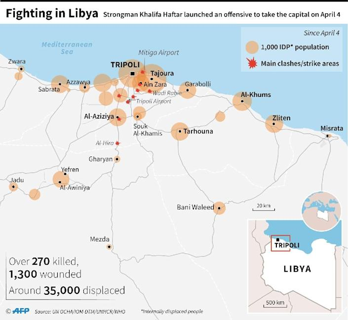 Map of Libya showing areas of displacement since clashes started on April 4. (AFP Photo/)