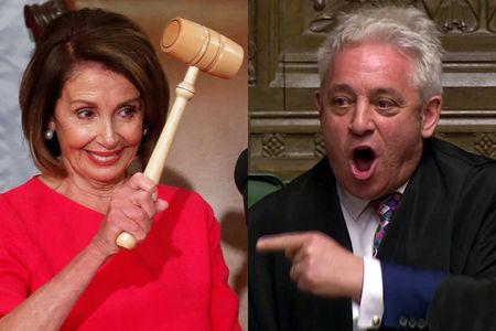 Combination image of House Speaker Nancy Pelosi (D-CA) holding the speaker's gavel inside the House Chamber (L) and Speaker of the House John Bercow (R). REUTERS/Leah Millis/Reuters TV
