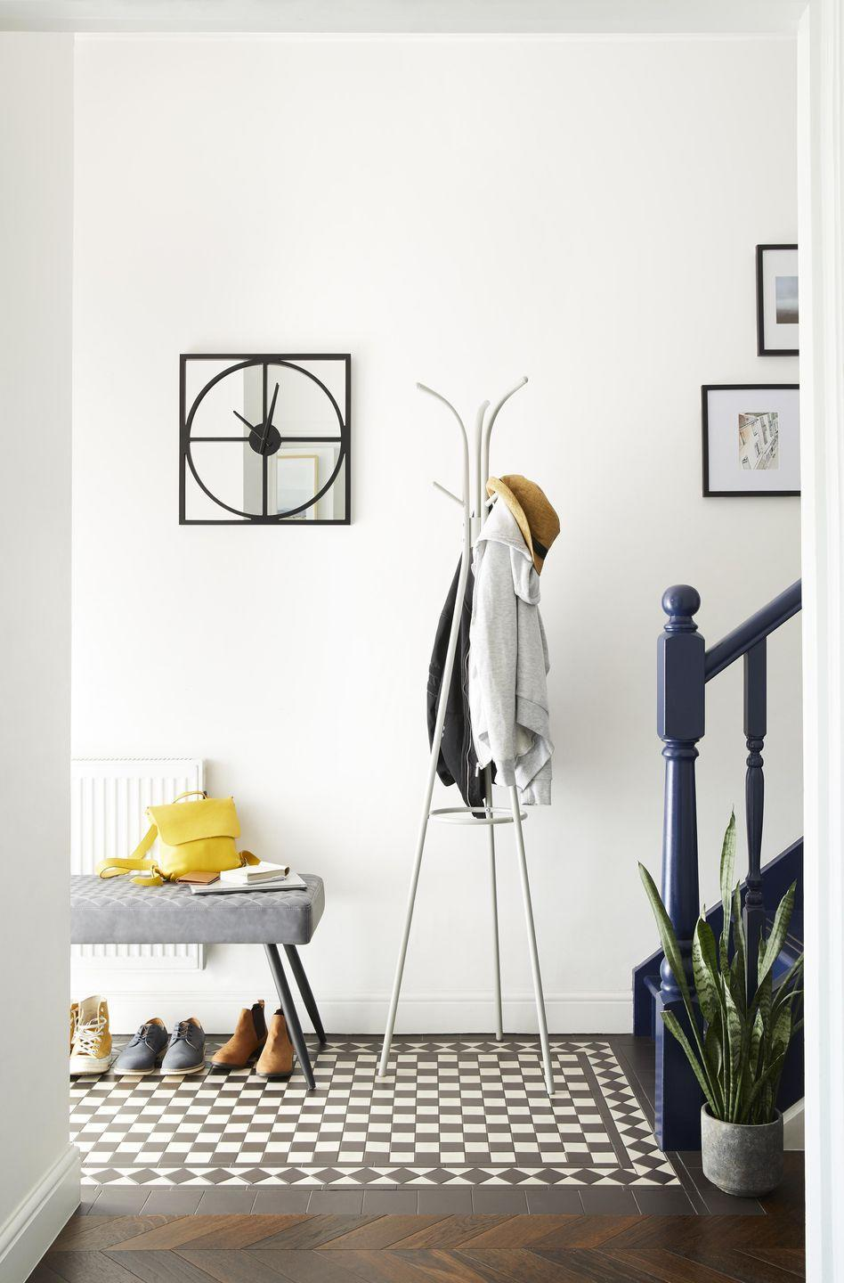 """<p>Tiles are an excellent choice for the hallway. Not only are they impervious to wet and muddy boots, but they also set the scene for bold, statement style. </p><p>If you're on a budget, head over to <a href=""""https://go.redirectingat.com?id=127X1599956&url=https%3A%2F%2Fwww.homebase.co.uk%2Fflooring-tiling%2Ftiling%2Ffloor-wall-tiles.list&sref=https%3A%2F%2Fwww.housebeautiful.com%2Fuk%2Fdecorate%2Fhallway%2Fg36617179%2Finstagrammable-hallway-ideas%2F"""" rel=""""nofollow noopener"""" target=""""_blank"""" data-ylk=""""slk:Homebase"""" class=""""link rapid-noclick-resp"""">Homebase</a> for everything from pink to classic white. For a splurge buy, consider <a href=""""https://capietra.com/"""" rel=""""nofollow noopener"""" target=""""_blank"""" data-ylk=""""slk:Ca' Pietra"""" class=""""link rapid-noclick-resp"""">Ca' Pietra</a>'s ever-popular 'Lily Pad' design. You won't regret it. </p><p>'When choosing flooring, you need to think about how the space is going to be used, and to consider the practicalities; different floor coverings are suitable for different conditions,' advises Jenna Kane, Product Development at <a href=""""https://www.kersaintcobb.co.uk/"""" rel=""""nofollow noopener"""" target=""""_blank"""" data-ylk=""""slk:Kersaint Cobb"""" class=""""link rapid-noclick-resp"""">Kersaint Cobb</a>.</p><p><a href=""""https://go.redirectingat.com?id=127X1599956&url=https%3A%2F%2Fwww.dunelm.com%2F&sref=https%3A%2F%2Fwww.housebeautiful.com%2Fuk%2Fdecorate%2Fhallway%2Fg36617179%2Finstagrammable-hallway-ideas%2F"""" rel=""""nofollow noopener"""" target=""""_blank"""" data-ylk=""""slk:Shop the full look at Dunelm"""" class=""""link rapid-noclick-resp"""">Shop the full look at Dunelm</a></p>"""