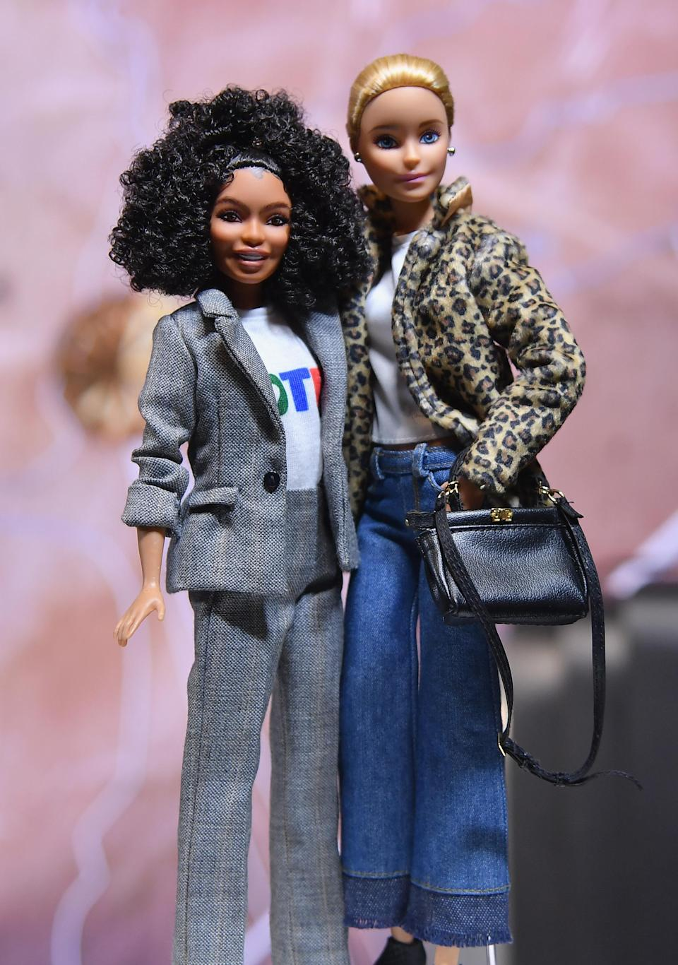 New Barbie Dolls released to celebrate Barbie's 60th Anniversary and International Women's Day at the Empire State Building on in New York City in 2019. (Photo: ANGELA WEISS/AFP/Getty Images)